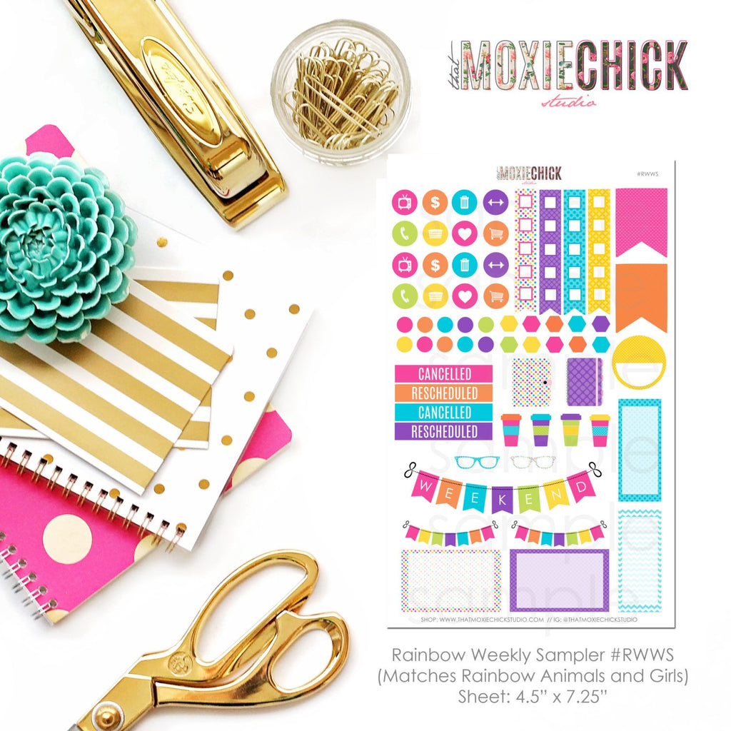 Rainbow Weekly Sampler Stickers // Matches RAINBOW GIRLS / ANIMALS sheets - Great for Erin Condren, Plum Paper and more! - That Moxie Chick Studio