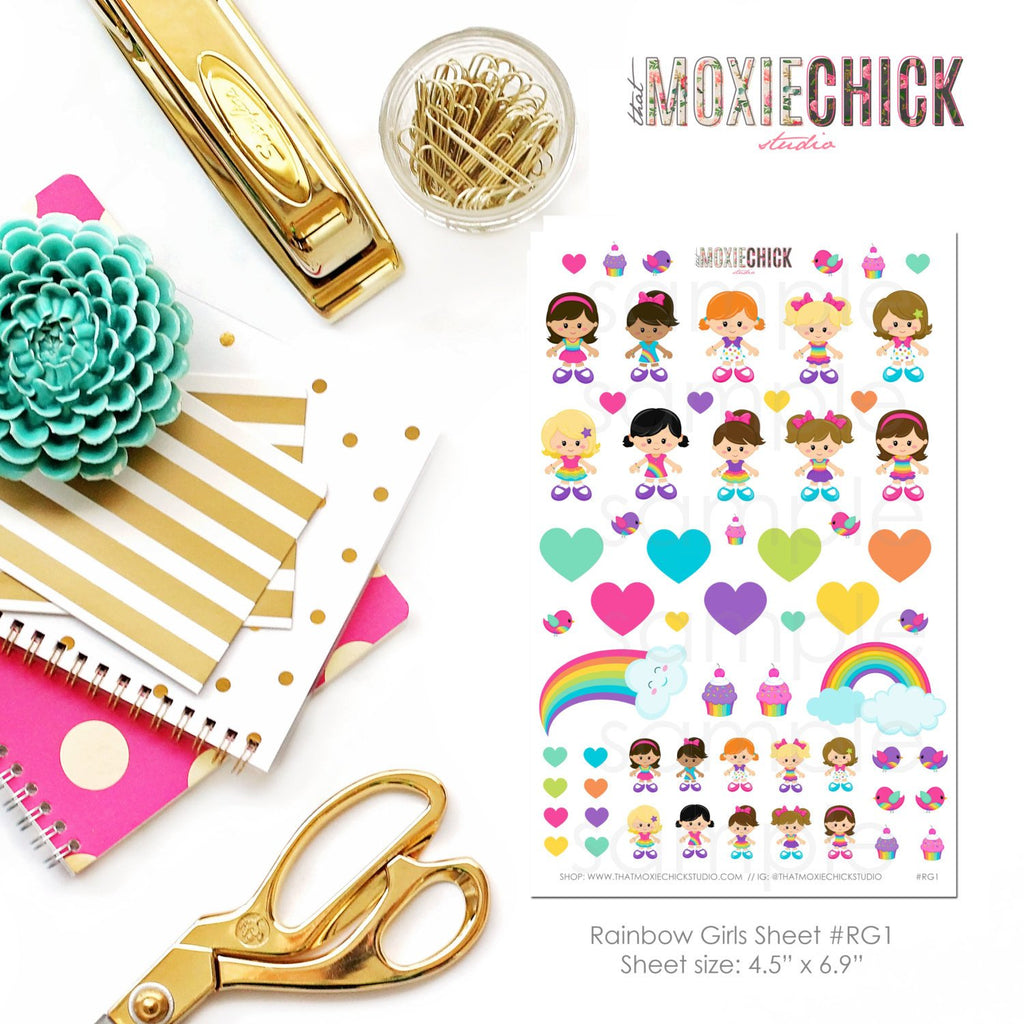 RAINBOW GIRLS sticker set - Great for Erin Condren, Plum Paper, Inkwell planners! - That Moxie Chick Studio