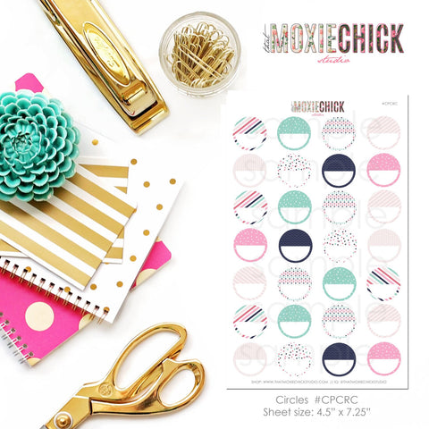 Circles / Half Circles - Matches CUTE PREPPY set - Great for planners! #CPCRC - That Moxie Chick Studio
