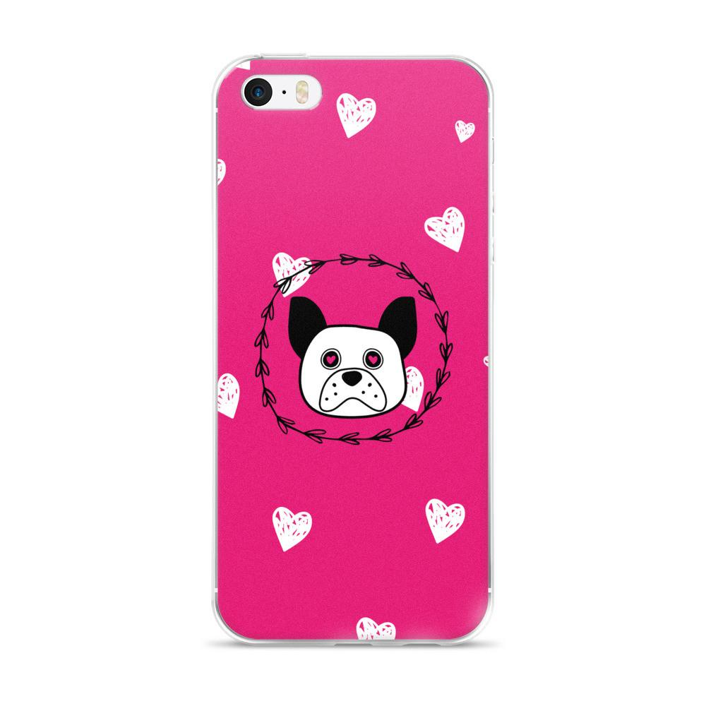 'Puppy Eyes' pink with white hearts iPhone 5/5s/Se, 6/6s, 6/6s Plus Case - That Moxie Chick Studio