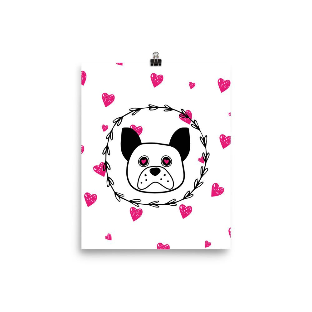 'Puppy eyes' white with pink hearts Photo paper poster - That Moxie Chick Studio