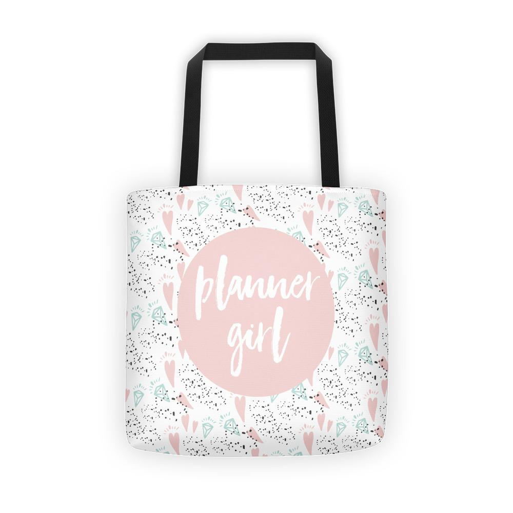 Planner Girl Pink / 'Hearts and Diamond' Tote bag - That Moxie Chick Studio