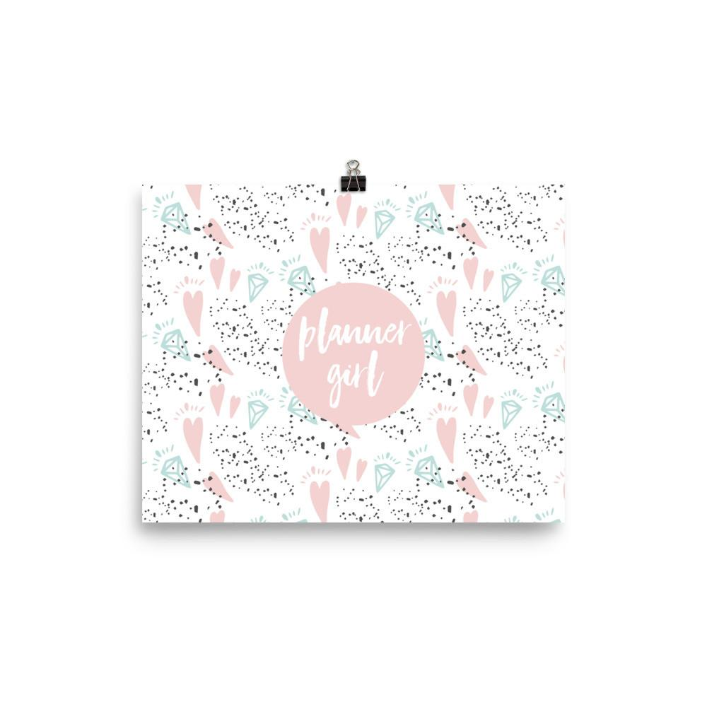 Planner Girl Minty / 'Hearts and Diamond' Photo paper poster - That Moxie Chick Studio