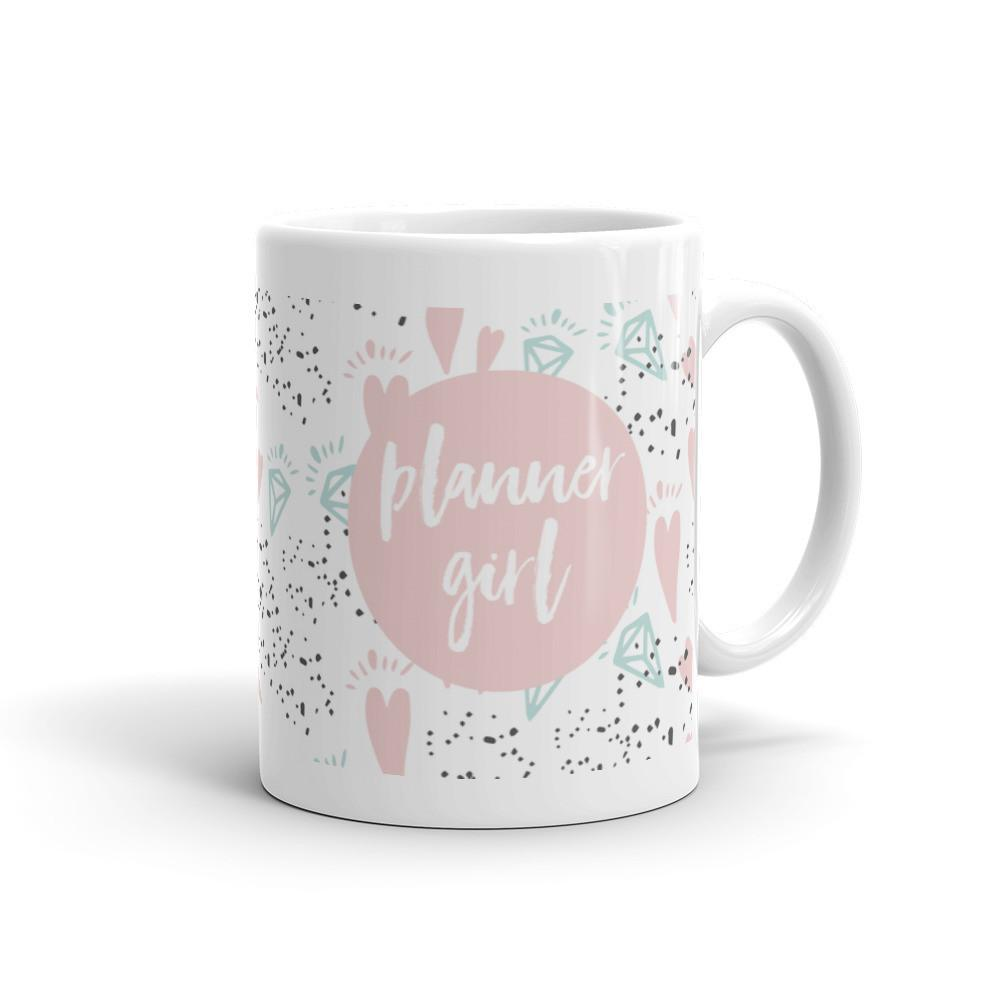 Planner Girl Pink / 'Hearts and Diamond' Mug - That Moxie Chick Studio