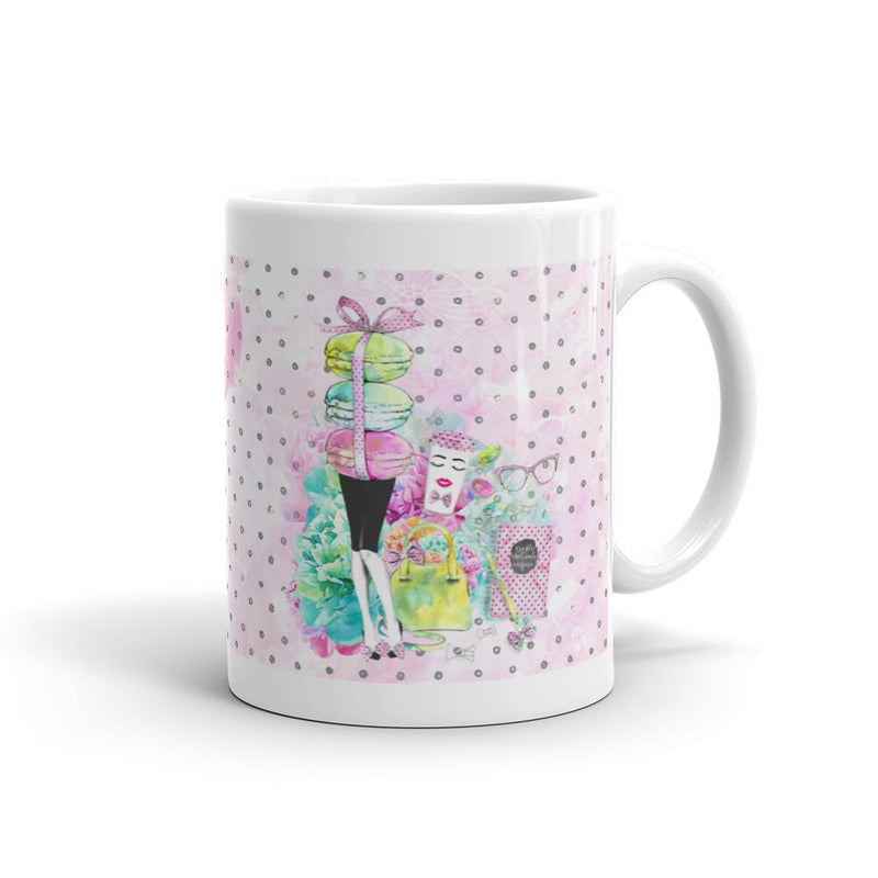 Stylish Girl (Patterned background) Mug - That Moxie Chick Studio