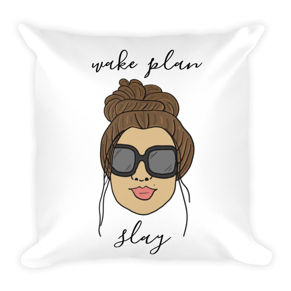 'Foxy Moxie Chick/ Style 1 / Wake Plan Slay / Square Pillow - That Moxie Chick Studio