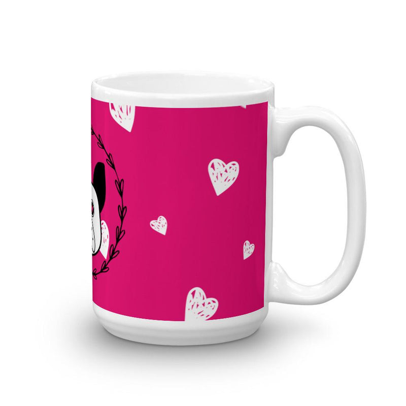 'Puppy Eyes' pink with white hearts Mug - That Moxie Chick Studio