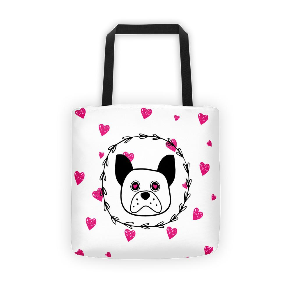 'Puppy eyes' white with pink hearts Tote bag - That Moxie Chick Studio