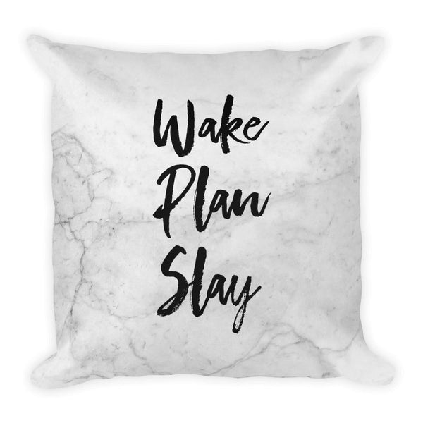 Wake Plan Slay 'Marble' Square Pillow - That Moxie Chick Studio