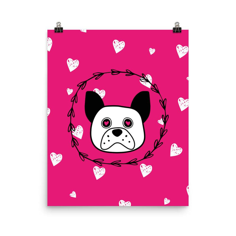'Puppy eyes' pink with white hearts Photo paper poster - That Moxie Chick Studio