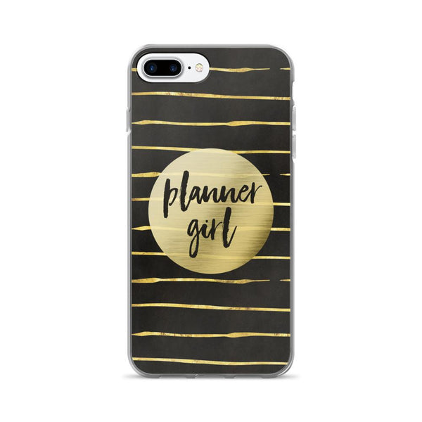 Black and Gold 'Planner Girl' iPhone 7/7 Plus Case - That Moxie Chick Studio