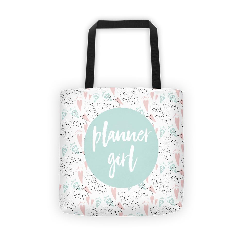 Planner Girl Minty / 'Hearts and Diamond' Tote bag - That Moxie Chick Studio