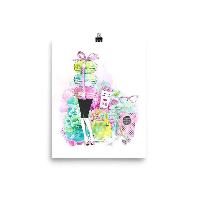 Stylish Girl (white background) Photo paper poster - That Moxie Chick Studio