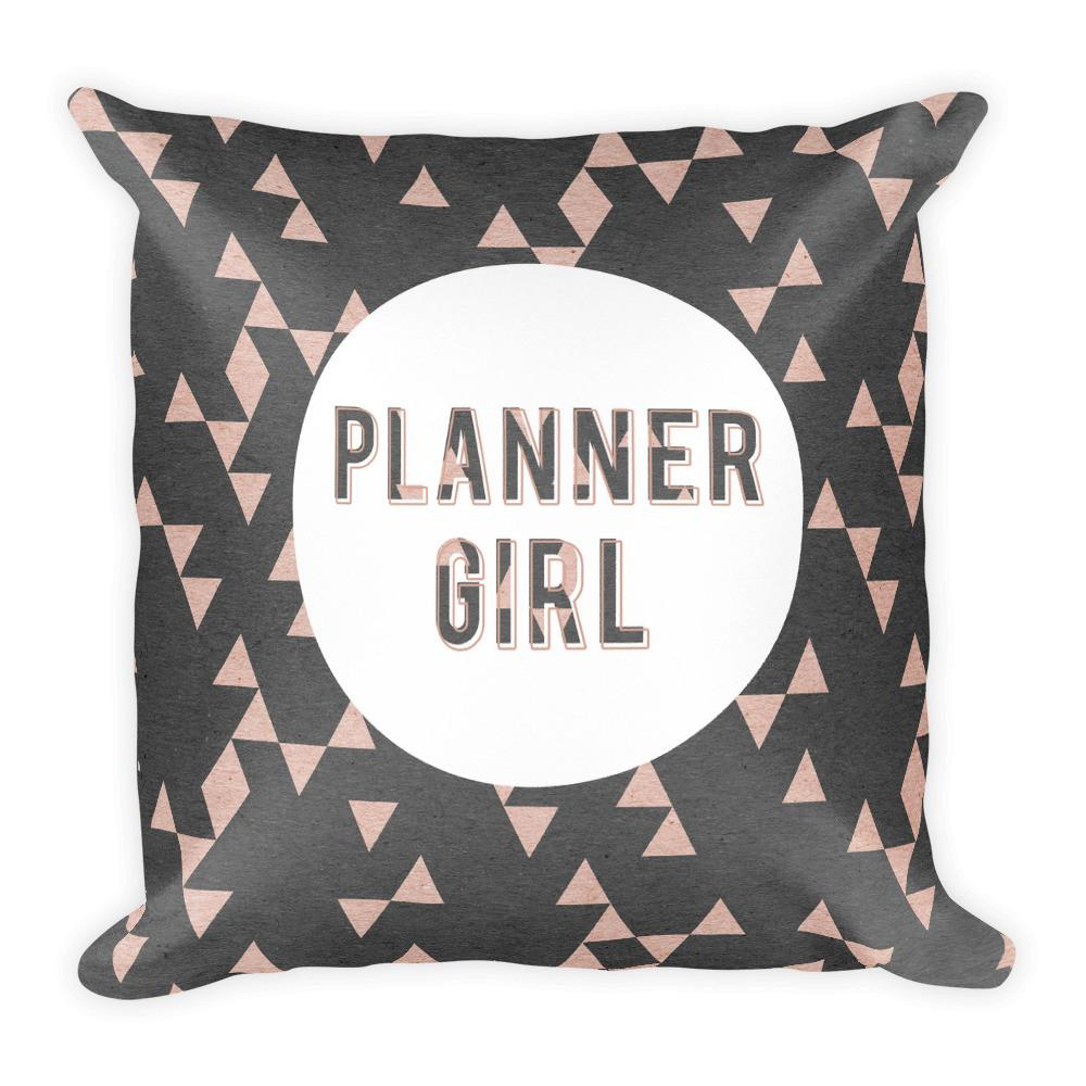 Rose Gold Triangle 'Planner Girl' Square Pillow - That Moxie Chick Studio