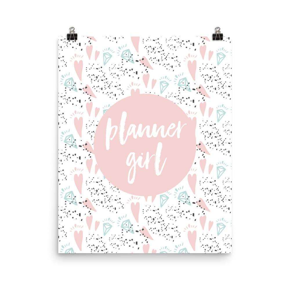 Planner Girl (Pink with Diamond and Hearts) Photo paper poster - That Moxie Chick Studio