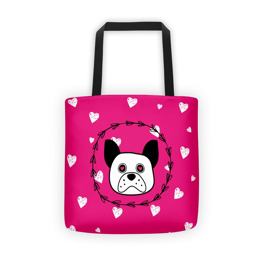 'Puppy eyes' pink with white hearts Tote bag - That Moxie Chick Studio