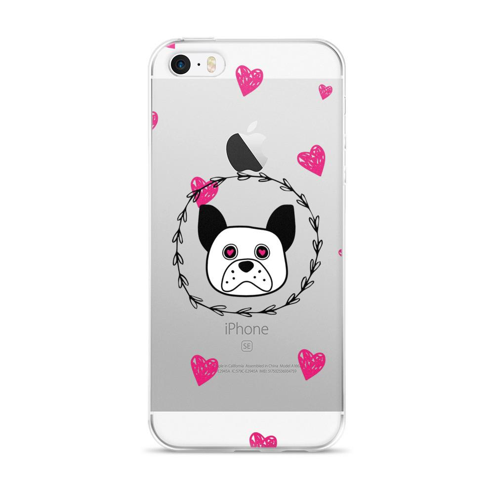 'Puppy eyes' whte with pink hearts iPhone 5/5s/Se, 6/6s, 6/6s Plus Case - That Moxie Chick Studio