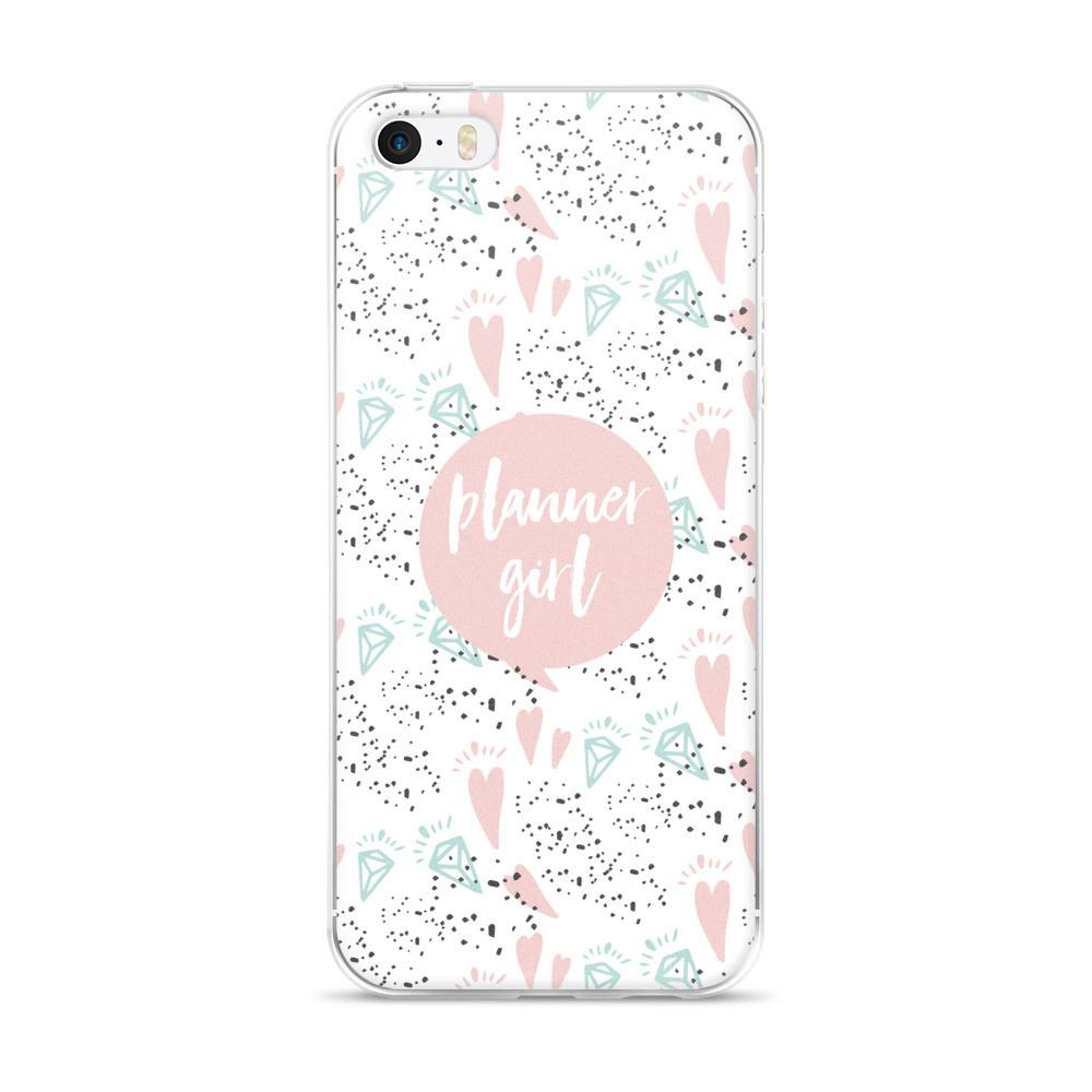 Planner Pink / 'Hearts and Diamond' iPhone 5/5s/Se, 6/6s, 6/6s Plus Case - That Moxie Chick Studio