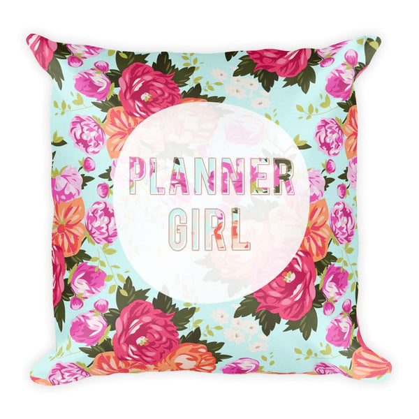 Floral 'Planner girl' Square Pillow - That Moxie Chick Studio