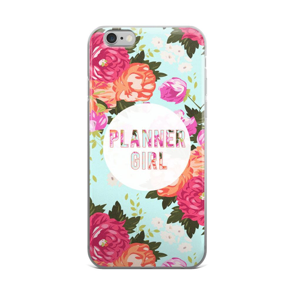 Floral 'Planner Girl' iPhone case 5/5s/Se, 6/6s, 6/6s Plus Case - That Moxie Chick Studio