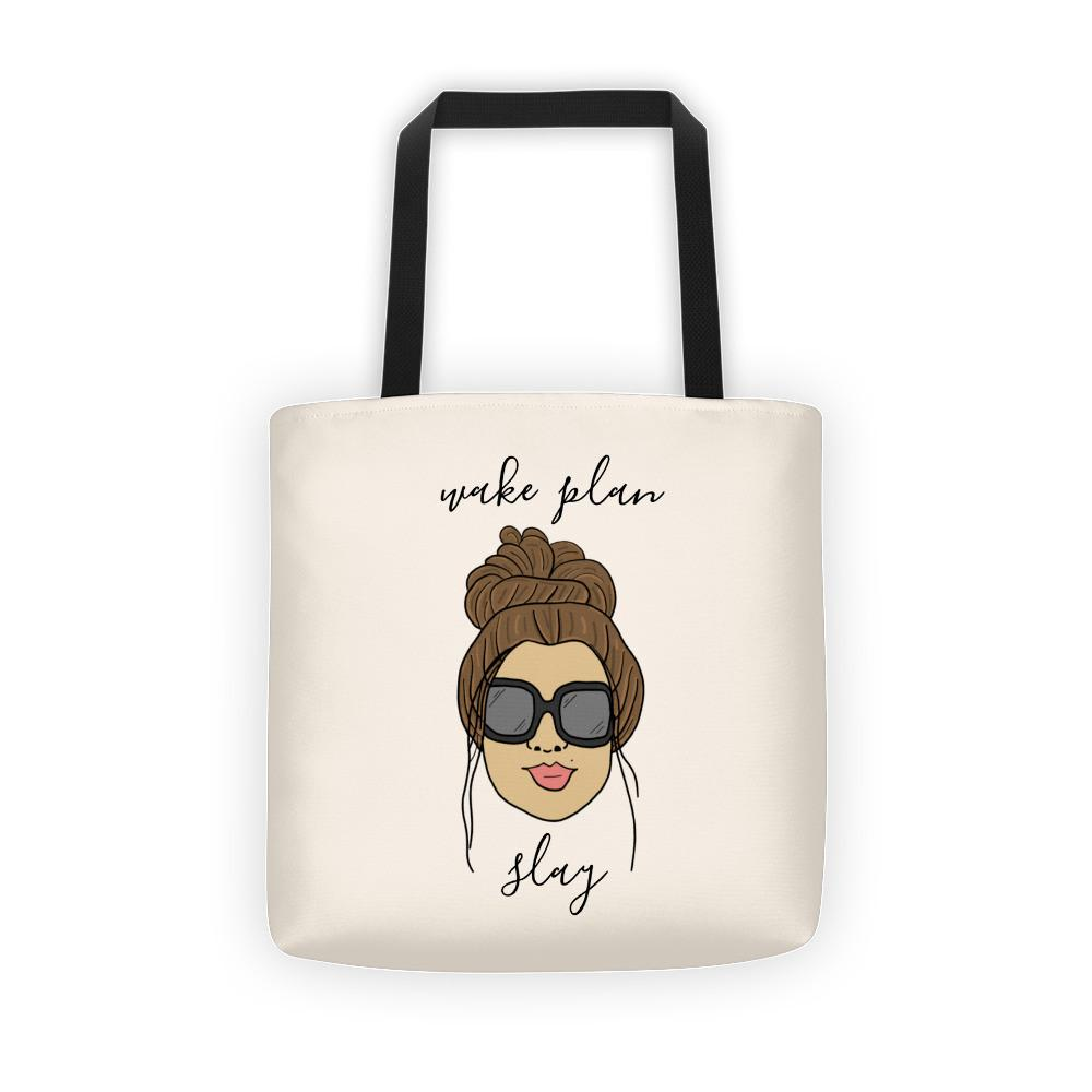 'Foxy Moxie Chick' / Wake Plan Slay (with beige background) Tote bag - That Moxie Chick Studio