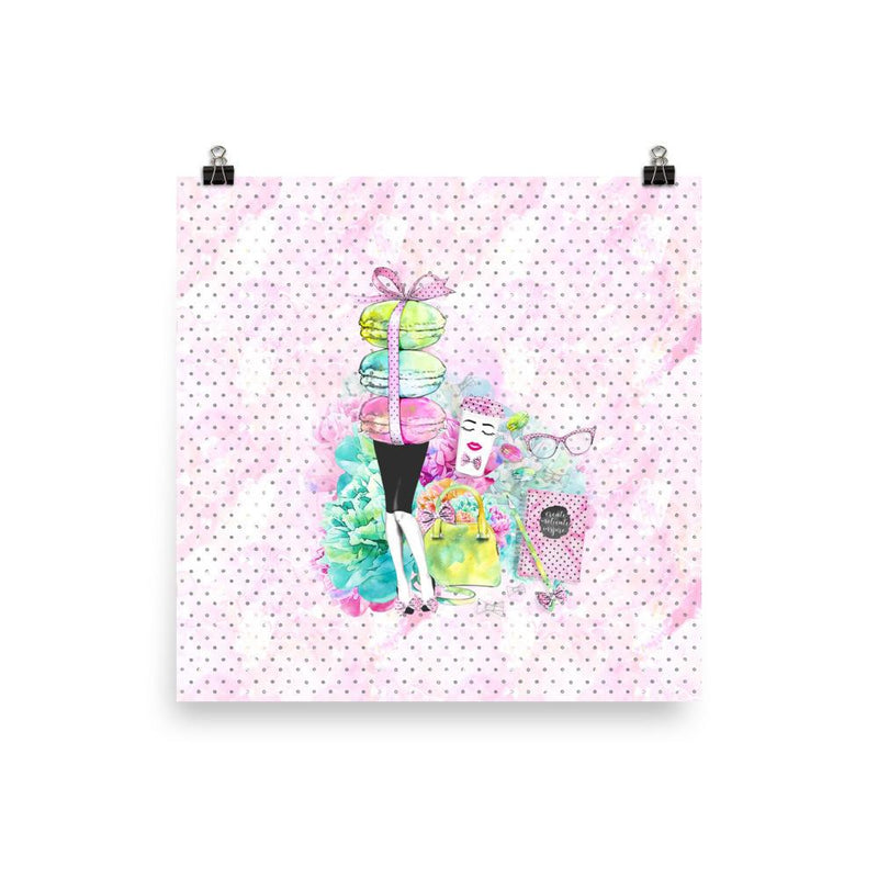 Stylish Girl (patterned background) Photo paper poster - That Moxie Chick Studio