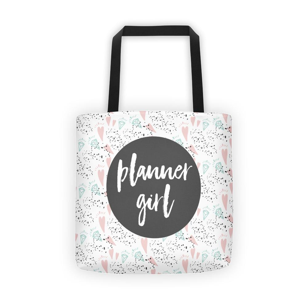 Planner Girl Dark Grey / 'Hearts and Diamond' Tote bag - That Moxie Chick Studio