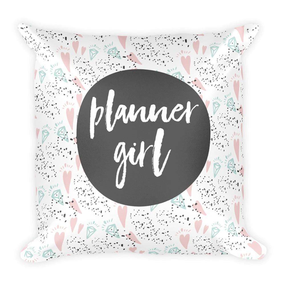 Planner Girl Dark Grey / 'Hearts and Diamond' Square Pillow - That Moxie Chick Studio