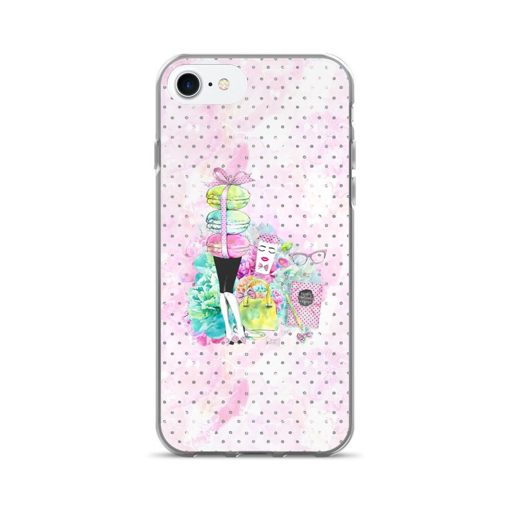 Stylish Girl (Patterned background) iPhone 7/7 Plus Case - That Moxie Chick Studio