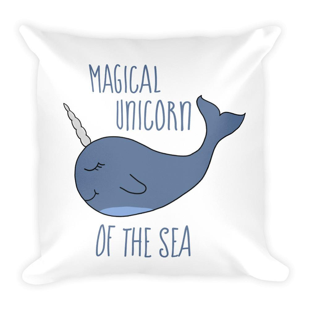 Narwhal the Magical Unicorn Square Pillow - That Moxie Chick Studio