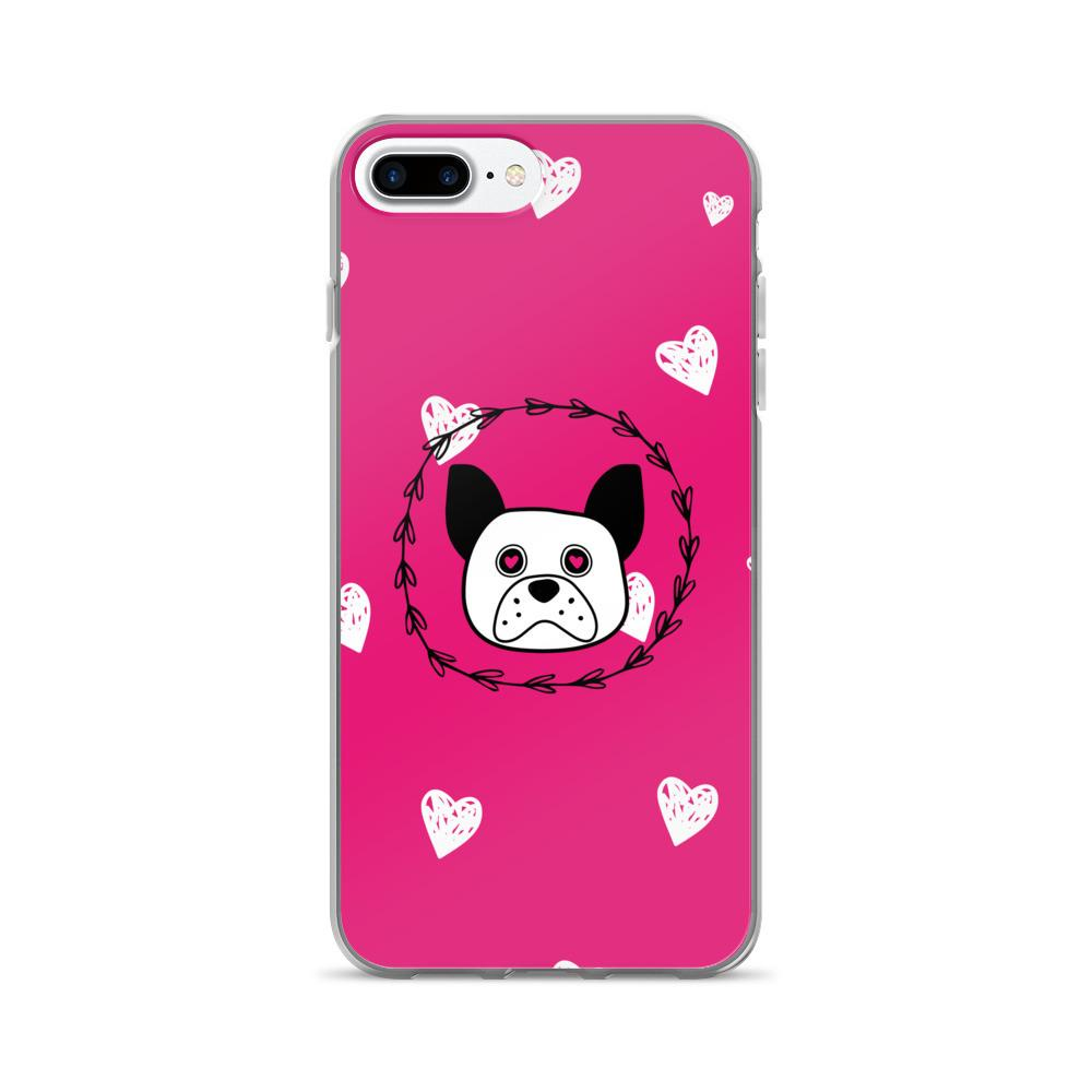 'Puppy Eyes' pink with white hearts iPhone 7/7 Plus Case - That Moxie Chick Studio