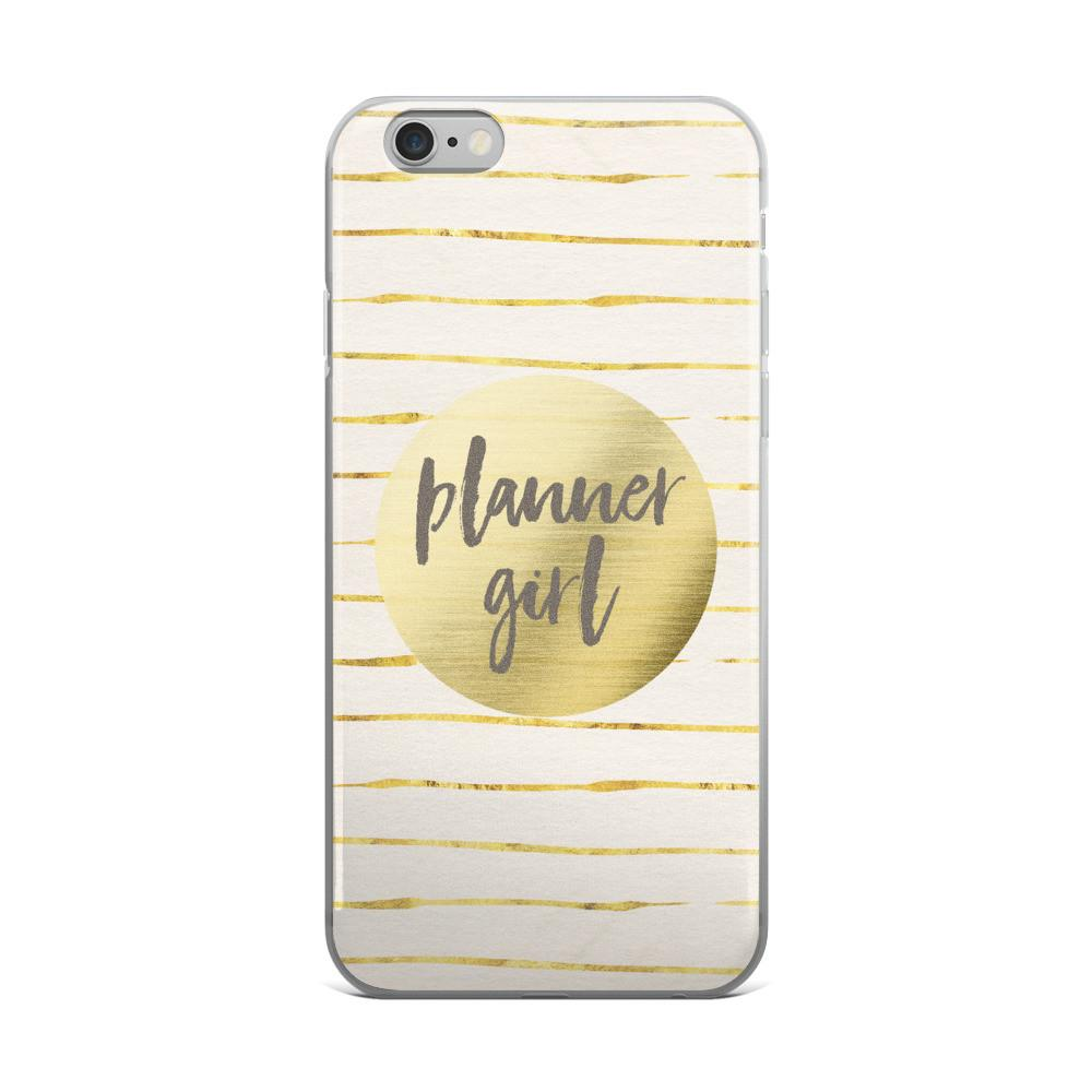 Gold 'Planner Girl' iPhone case [Style #2] 5/5s/Se, 6/6s, 6/6s Plus Case - That Moxie Chick Studio