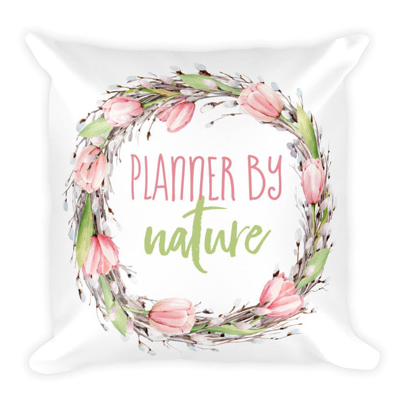 'New Release! Planner By Nature Wreath Square Pillow - That Moxie Chick Studio