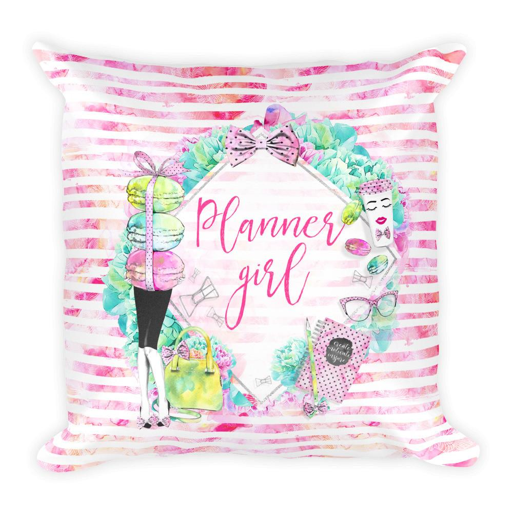 'Stylish Planner Girl' Square Pillow - That Moxie Chick Studio