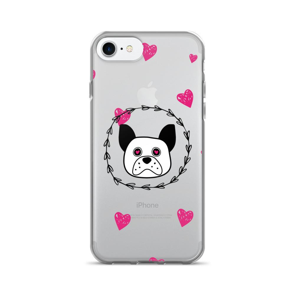 'Puppy Eyes' clear with pink hearts iPhone 7/7 Plus Case - That Moxie Chick Studio