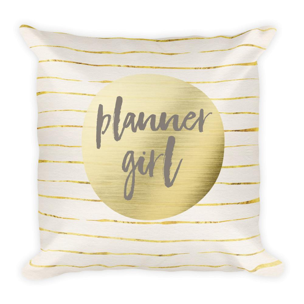 Gold Planner Girl Square Pillow - That Moxie Chick Studio