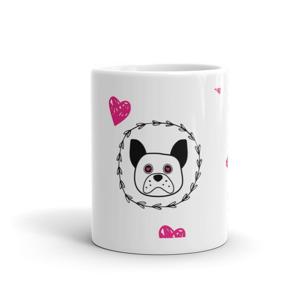 'Puppy eyes' white with pink hearts Mug - That Moxie Chick Studio