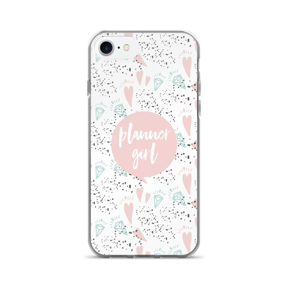 Planner Pink / 'Hearts and Diamond' iPhone 7/7 Plus Case - That Moxie Chick Studio