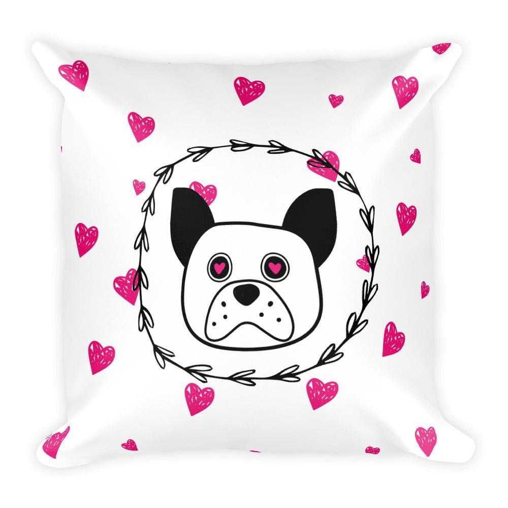 'Puppy eyes' white with pink hearts Square Pillow - That Moxie Chick Studio