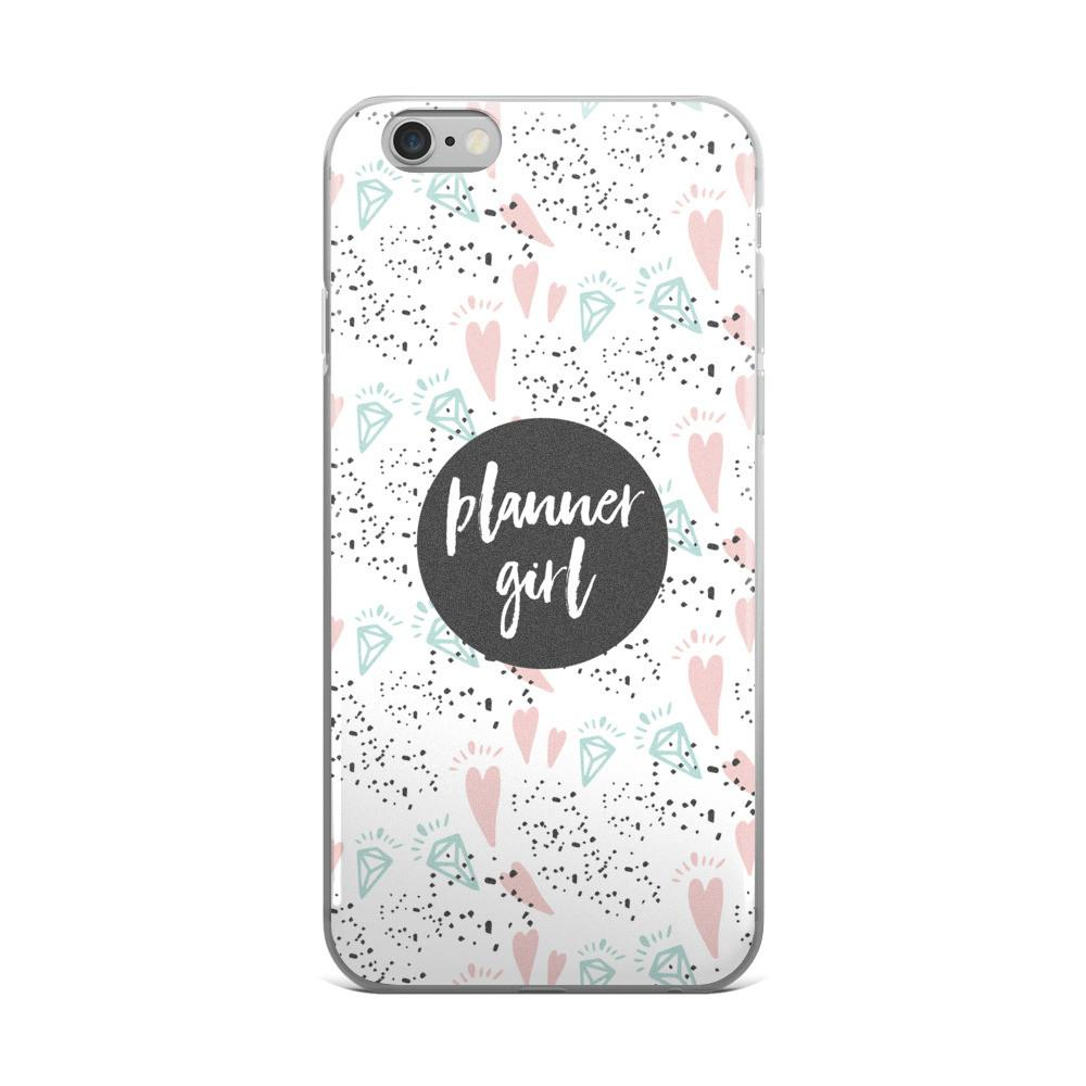 Planner Girl Gray / 'Hearts and Diamond' iPhone 5/5s/Se, 6/6s, 6/6s Plus Case - That Moxie Chick Studio