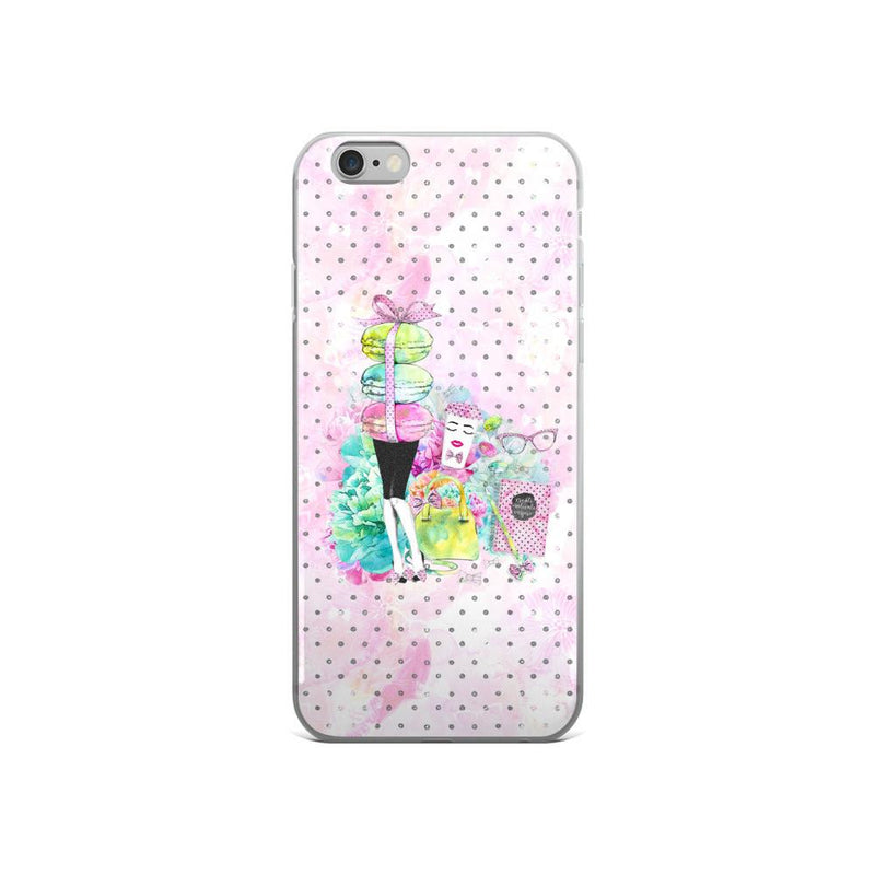 Stylish Girl (patterned background) iPhone 5/5s/Se, 6/6s, 6/6s Plus Case - That Moxie Chick Studio