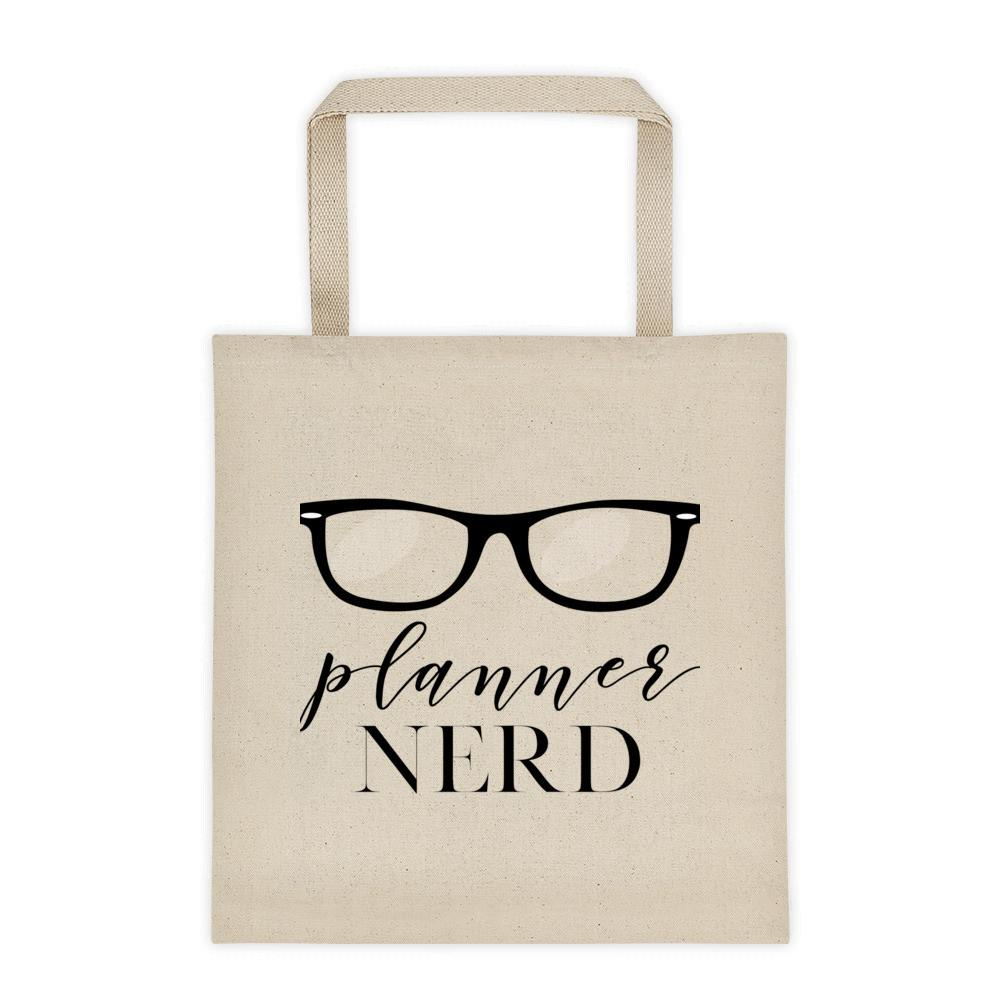 Canvas 'Planner Nerd' with eyeglasses tote bag - That Moxie Chick Studio