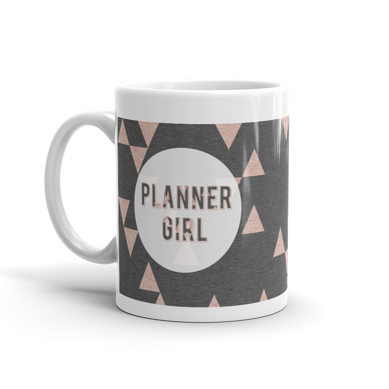 Rose Gold Triangle 'Planner Girl' mug - That Moxie Chick Studio