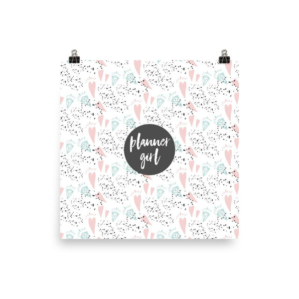 Planner Girl Dark Grey / 'Hearts and Diamond' Photo paper poster - That Moxie Chick Studio
