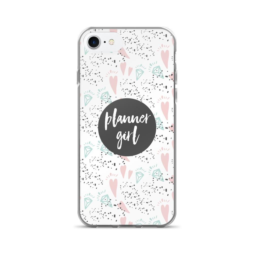 Planner Girl Gray / 'Hearts and Diamond' iPhone 7/7 Plus Case - That Moxie Chick Studio