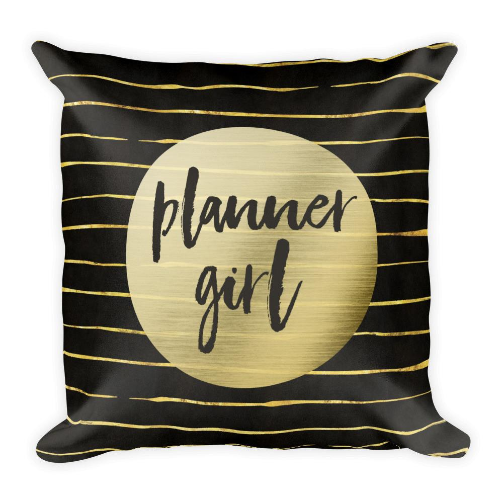 Black and Gold 'Planner Girl' Pillow - That Moxie Chick Studio