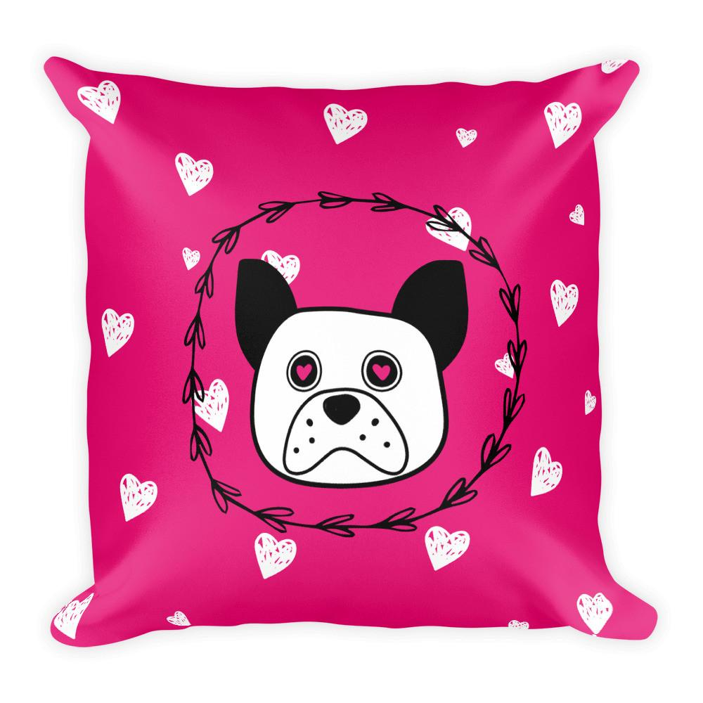 'Puppy eyes' pink with white hearts Square Pillow - That Moxie Chick Studio