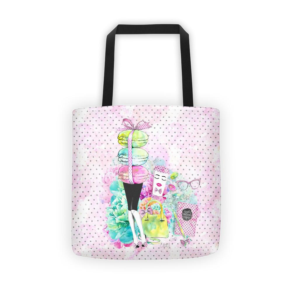 Stylish Girl (Patterned background) Tote bag - That Moxie Chick Studio