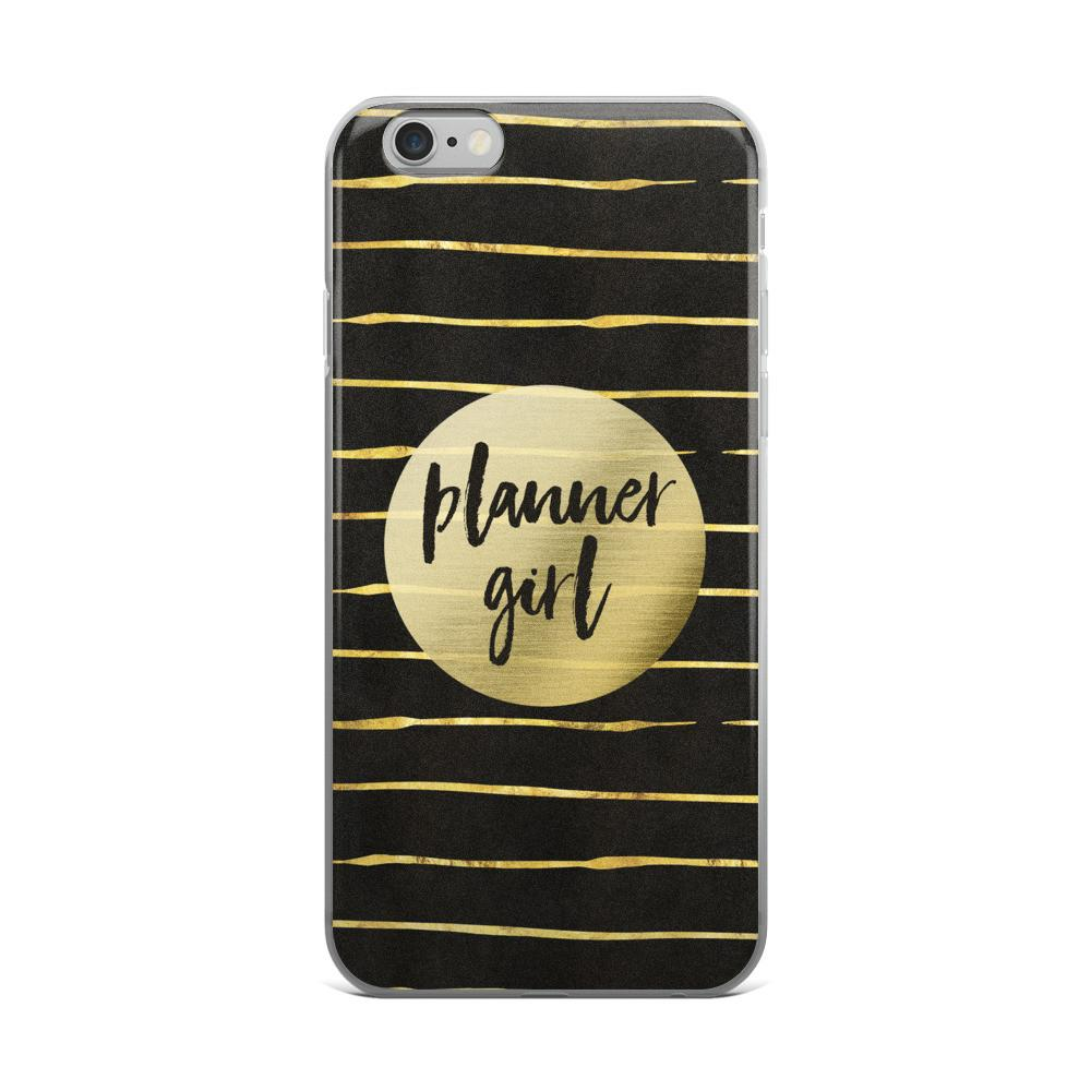 Black and Gold 'Planner Girl' iPhone case 5/5s/Se, 6/6s, 6/6s Plus Case - That Moxie Chick Studio