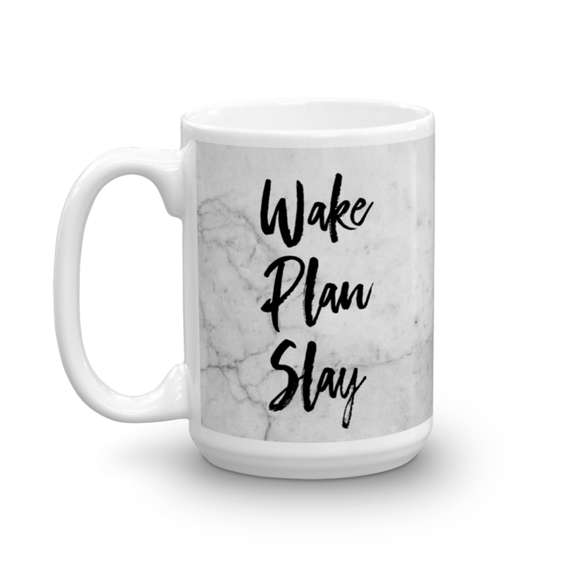 Wake / Plan / Slay 'Marble' Mug - That Moxie Chick Studio